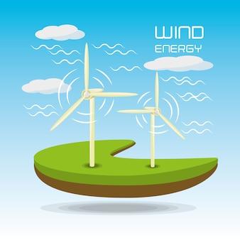Плоский пейзаж, выпущенный с помощью ветроэнергетики
