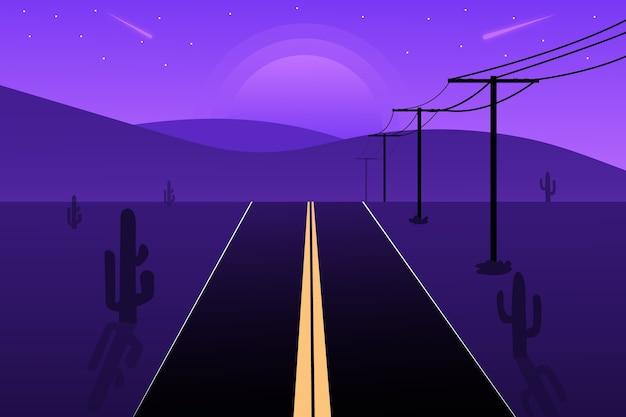 평평한 풍경 도로와 밤에 산
