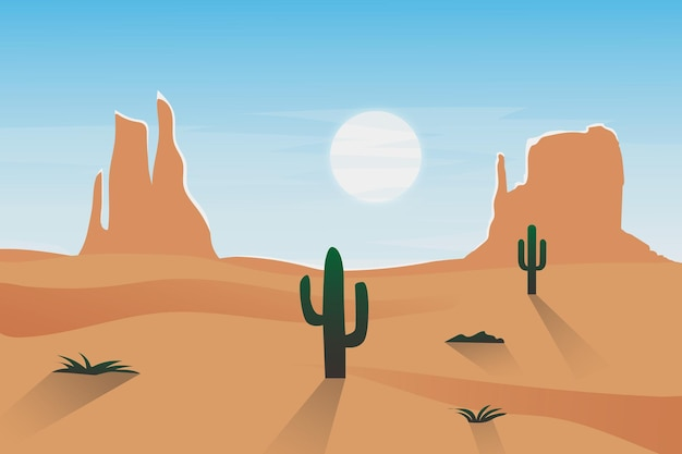 砂漠の砂サボテンの自然の中で平らな風景の岩山