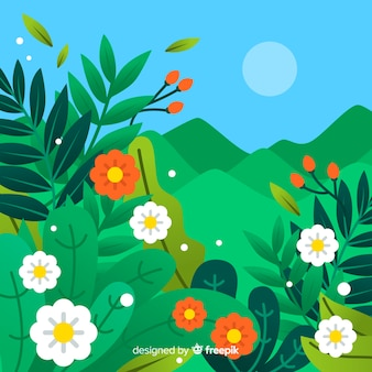 Flat landscape spring background