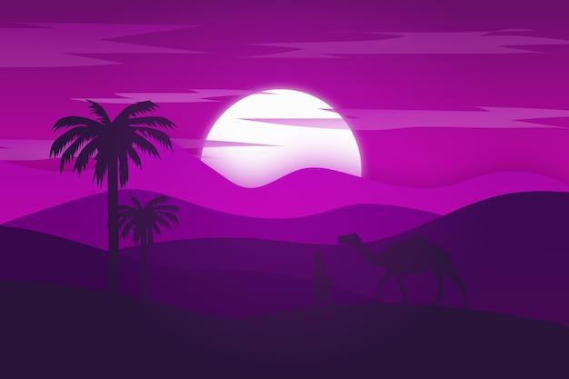 평평한 풍경 사막은 밝은 보라색이며 밤에는 아름답습니다.