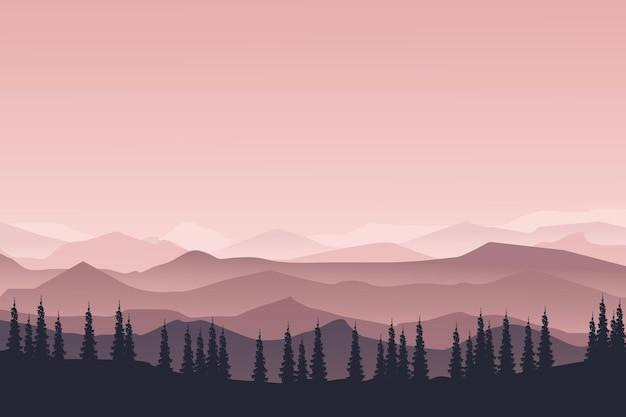 Ровный пейзаж лес в горах был красив в ясное утро
