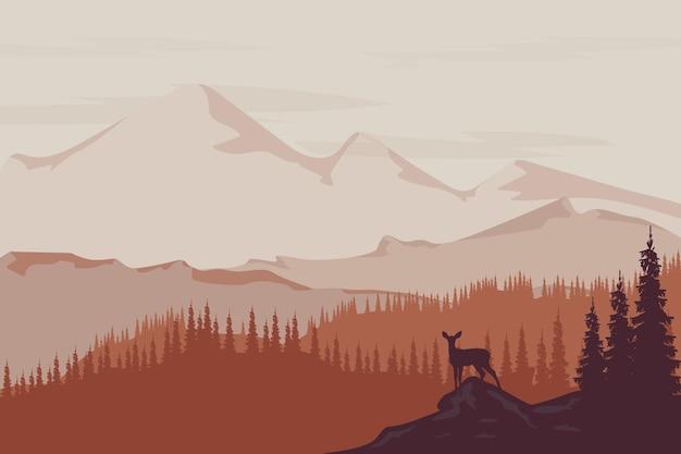 Плоский пейзаж горы и леса красивы по своей природе, серо-оранжевые.
