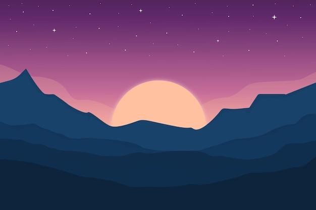 Ровный пейзаж горы ночью очень красивы