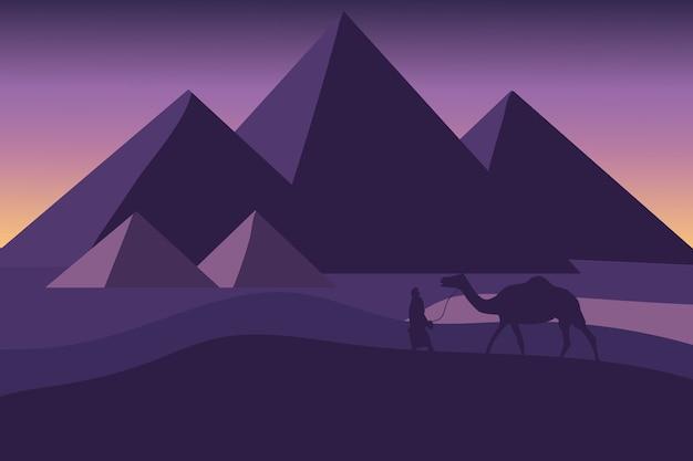 Плоский пейзаж пирамид египта в очень красивый день