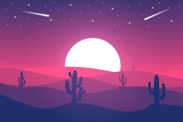 평평한 풍경 사하라 사막은 밝은 분홍색 조명으로 밤에 아름답습니다.