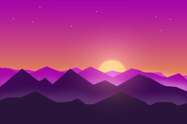 Плоский пейзаж солнце садится в красивых горах