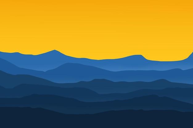 Плоский пейзаж вектор горы небо цвет синий и желтый