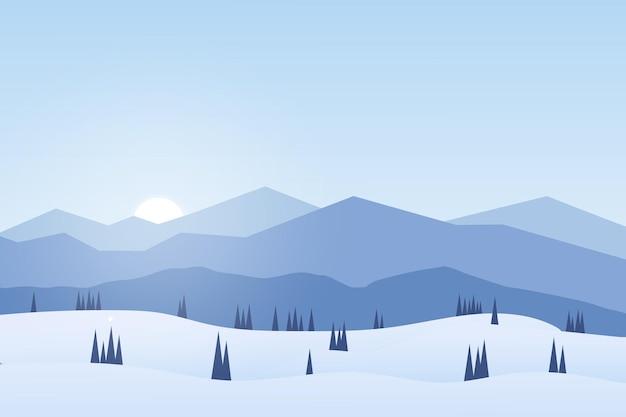 Плоский пейзаж зимой в горах и естественных сосновых лесах