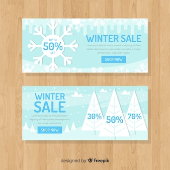 Flat landscape winter sale banner template