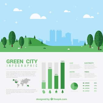 Flat landscape with a city infography