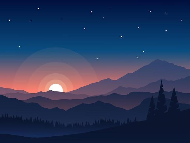 夕方の空と山と平らな風景