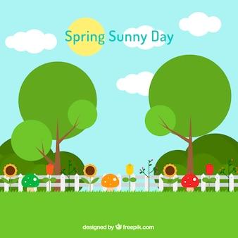 春の花や木々フラット風景