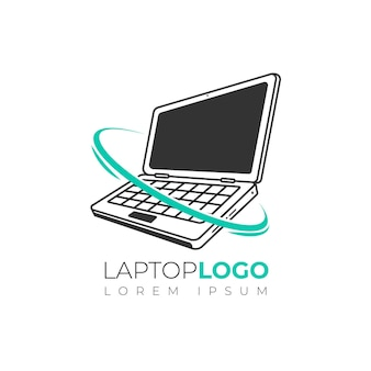 フラットラップトップのロゴのテンプレート