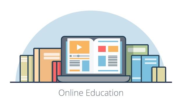 画面のイラストの本とフラットノートパソコン。オンライン教育コースと知識の概念。