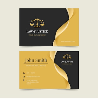 Flat law & justice business card template