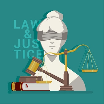 Flat law & justice illustration