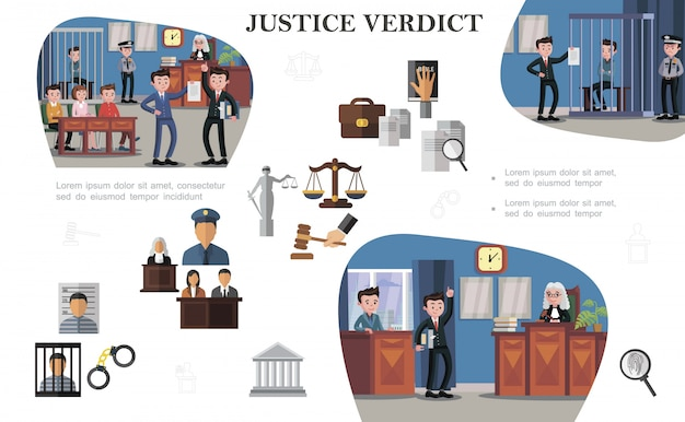 Flat law system elements composition with documents justice scales gavel prisoner police officer judge lawyers different situations at court hearings