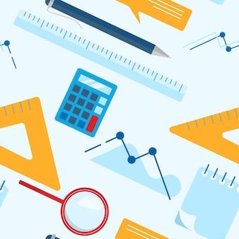 Flat lay business seamless pattern wallpaper with notepad, calculator, ruler, magnifier glass, ballpoint pen, chart, graph.