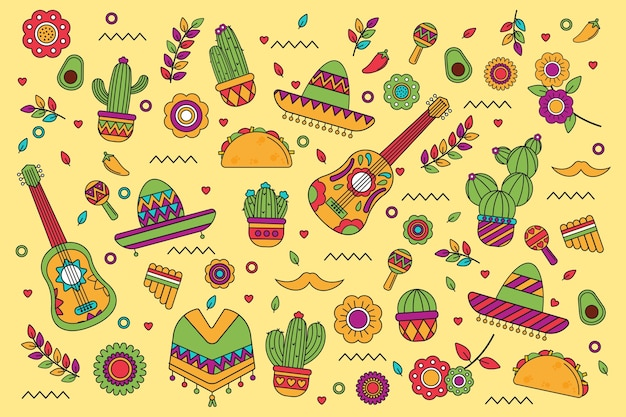 Flat lay colorful mexican background