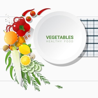 Flat lay fresh vegetables on white table