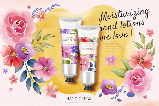 Flat lay hand cream ads with colorful watercolor style floral background in 3d illustration