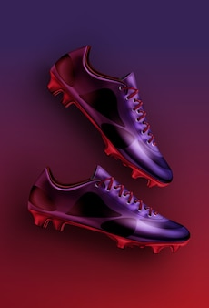 Flat lay illustration of football soccer boots in purple, violet and red colors isolated on gradient background
