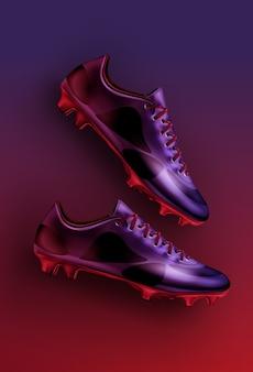 Плоская планировка футбольных бутс в фиолетовых, фиолетовых и красных тонах, изолированных на градиентном фоне