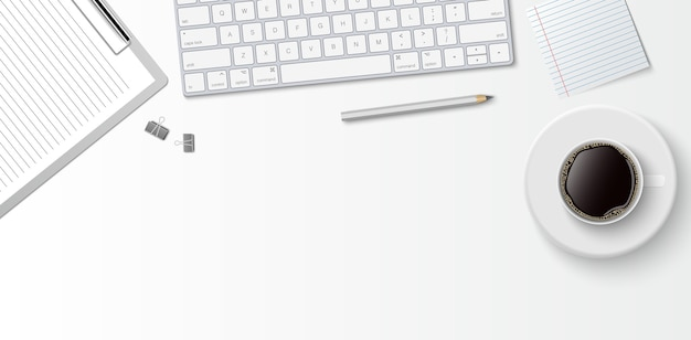 Flat lay minimal work space, top view office desk with computer keyboard, clipboard and coffee cup on white color background