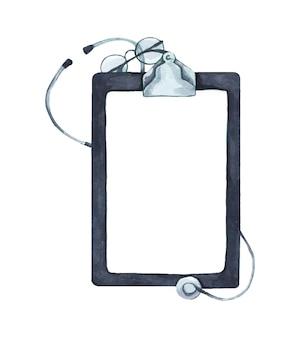 聴診器とコピースペース、ヘルスケアと医療の概念、上面図の書き込みパッドペーパークリップボードのフラットレイ。水彩イラスト。
