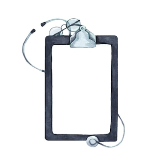 Flat lay of stethoscope and writing pad paper clip board with copy space, healthcare and medical concept, top view. watercolor illustration.