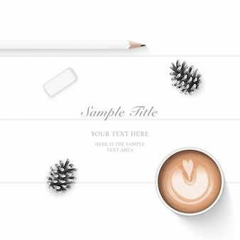 Flat lay top view elegant composition paper pine cone pencil eraser and coffee on wooden background.