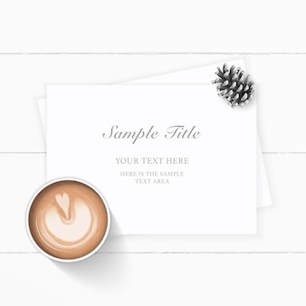 Flat lay top view elegant white christmas composition paper pine cone and coffee on wooden background.