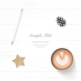 Flat lay top view elegant white christmas composition paper pine cone pencil coffee and star shape craft on wooden background.