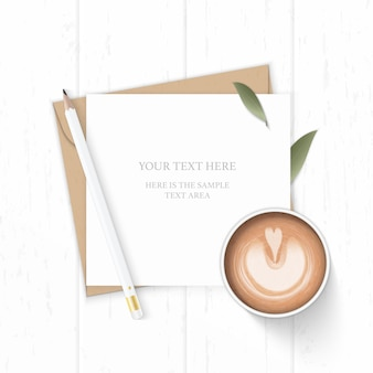 Flat lay top view elegant white composition letter kraft paper envelope nature leaf pencil and coffee on wooden background.