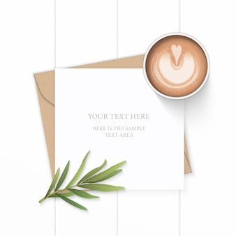 Flat lay top view elegant white composition letter kraft paper envelope nature tarragon leaf and coffee on wooden background.