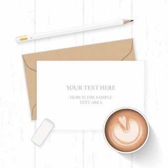 Flat lay top view elegant white composition letter kraft paper envelope pencil eraser and coffee on wooden background.