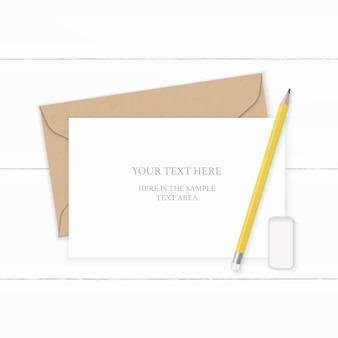 Flat lay top view elegant white composition letter kraft paper envelope yellow pencil and eraser on wooden background.