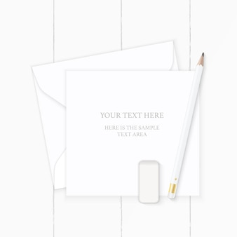 Flat lay top view elegant white composition letter paper envelope pencil and eraser on wooden background.