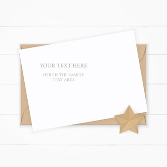 Flat lay top view elegant white composition paper kraft envelope star shape craft on wooden background.