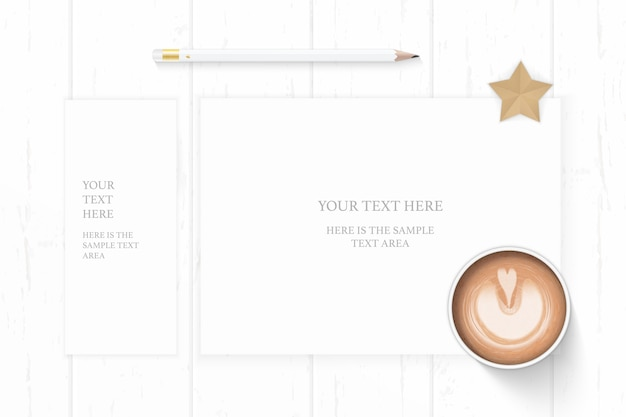 Flat lay top view elegant white composition paper pencil coffee and star shape craft on wooden background.