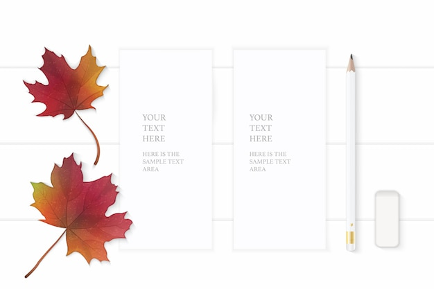 평평하다 평면도 우아한 흰색 구성 종이 연필 지우개와 나무 배경에가 단풍 잎.