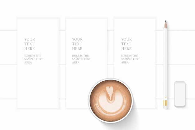 Flat lay top view elegant white composition paper pencil eraser and coffee on wooden background.