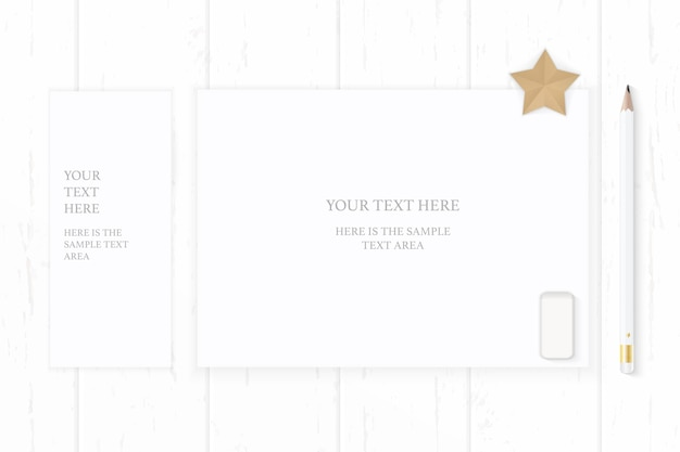Flat lay top view elegant white composition paper pencil eraser and star shape craft on wooden background.