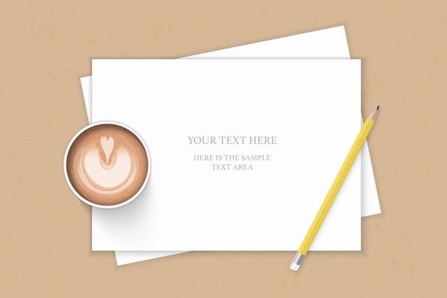 Flat lay top view elegant white composition paper yellow pencil and coffee on kraft background.