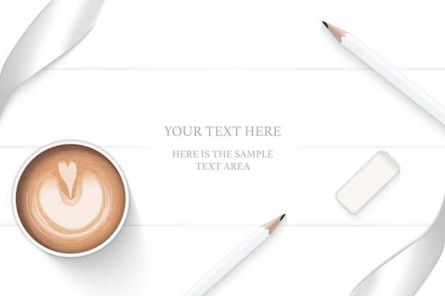 Flat lay top view elegant white composition silver ribbon pencil eraser and coffee on wooden floor background.