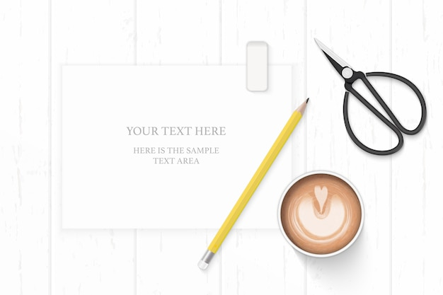 Flat lay top view elegant white composition yellow pencil eraser coffee and metal scissors on wooden background.