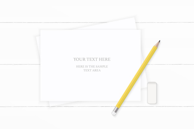 Flat lay top view elegant white composition yellow pencil and eraser on wooden background.
