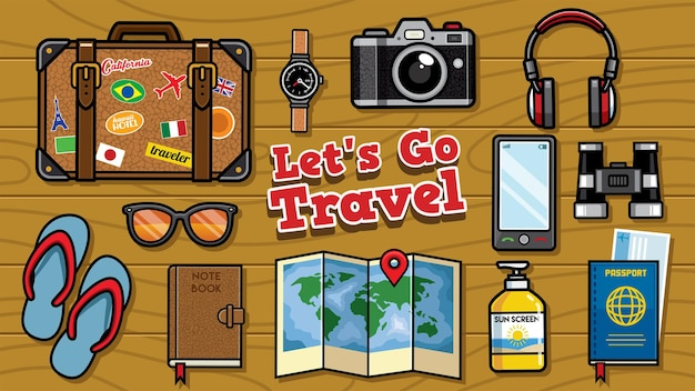 Flat lay traveling objects set