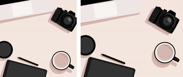 Flat lay with laptop, camera, tablet and cup of coffee